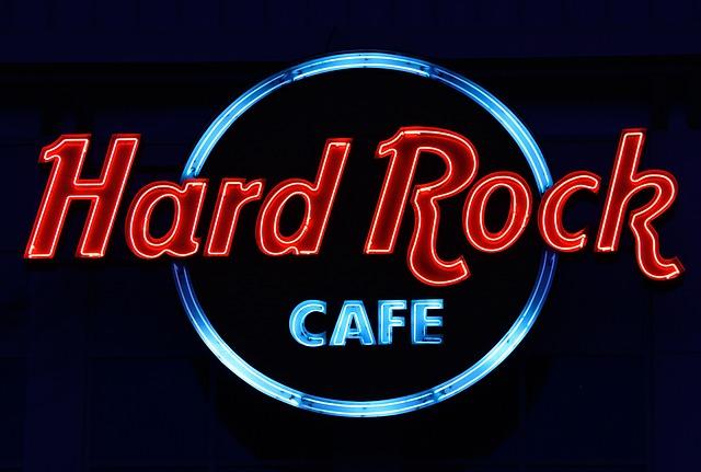 světelná reklama, hard rock café